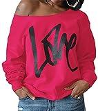 ZIOOER Damen Pulli Eine Seite Schulterfrei Love Langarm T-Shirt Rundhals Ausschnitt Lose Bluse Hemd Pullover Oversize Sweatshirt Oberteil Tops Rosa XXL