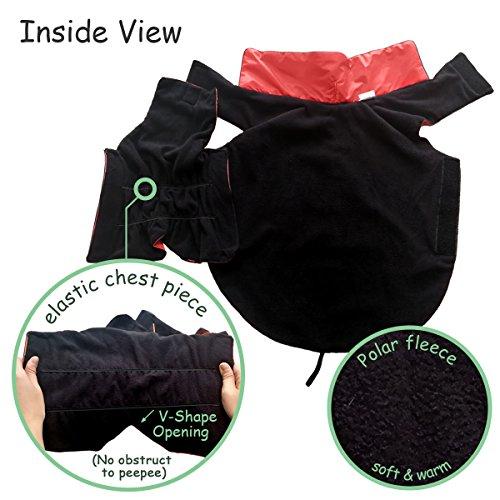SelfLove Hundemantel aus 100% Wasserdicht Nylon Fleece Futter Jacke Reflektierende Hundejacke Warm Hundemantel Climate Changer Fleece Jacke einfaches An- und Ausziehen(L Schwarz) - 4