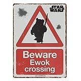 Star Wars ~ Kleine Plakette/Schild (Metall/Blech) ~ Star Wars ~ BEWARE Ewok CROSSING