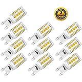 Yuiip LED Bombilla G9 2W Equivalente a 25W Lámpara Halógena 3000K Blanco Cálido AC 220 - 240V 240LM, Sin Parpadeo, No Regulable, Pack de 10 [Clase de Energética A ++]