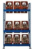 Getränkekistenregal | für 9 Getränkekästen  106 cm breit  blau pulverbeschichtet | inkl. Wandhalterung | Kistenregal Kistenständer Getränkekisten-Regal