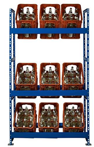Getränkekistenregal | für 9 Getränkekästen ✓ 106 cm breit ✓ blau pulverbeschichtet | inkl. Wandhalterung | Kistenregal Kistenständer Getränkekisten-Regal