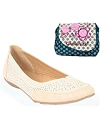 Estatos Perforated Leather Cut Work Platform Heeled Light Brown/Orange Bellerina/shoes With Blue Printed Clutch... - B07928C21L