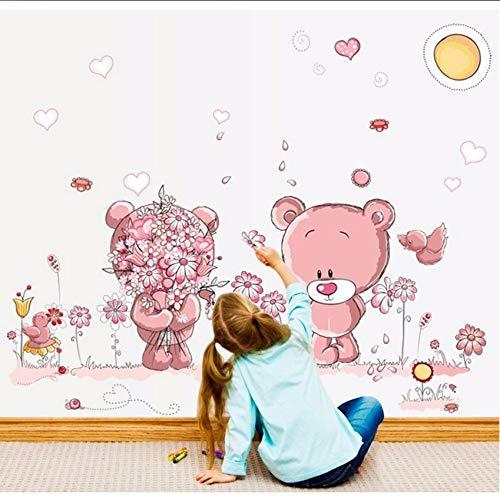 Hbbhbb Pink Cartoon Cat Rabbit Flower Wall Sticker For Baby Girls Kids Rooms Home Decor Teddy Bear Umbrella Classroom Wall Decals 100X110Cm (Teddy Bear Girl Flower)