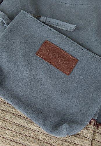 Anokhi , Sac pour femme à porter à l'épaule Pigeon, Blaugrau