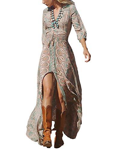 HaiDean Donna Vestiti Lunghi Stampati Floreale Chiffon Elegante Giovane Hippie Estive Manica 3/4 V Scollo Abito da Spiaggia Spacco Sottile Abiti Mare Bohemian Vita Alta Vestito da Cerimonia