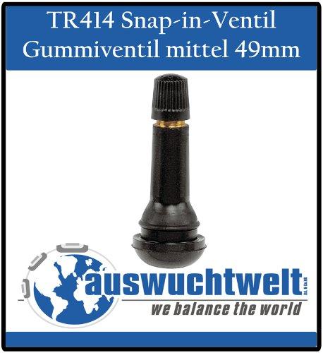 TR414 Ventil Gummi-Ventile Reifenventil mittel Snap-in Schlauchlos Ventile PKW 100Stück