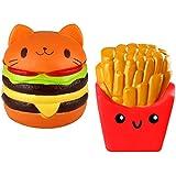 Biging 2 Pieces Kawaii CatHamburger Bread Squishy and Fries Squishy Slow Rising Toys