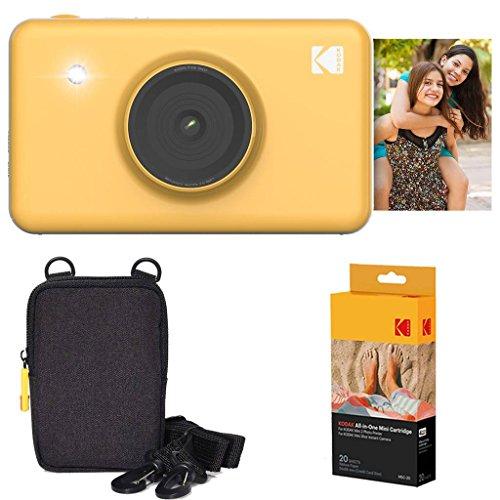 Kodak mini shot stampante fotografica istantanea (giallo) confezione base + carta fotografica (20 fogli) + custodia deluxe