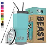 Beast 30 oz (850ml) Tumbler Stainless Steel Vacuum Insulated Coffee Cup Double Wall Travel Flask with Splash Proof Lid, 2 Straws & Free Cleaning Brush by Greens Steel (30oz, Aquamarine Blue)