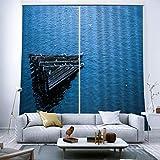 HONGYZCL Dreieckiger Digitaler Druckvorhang des Holz 3D Geeignet Für Hauptschlafzimmerwohnzimmer,220Cm(W)×241Cm(H)