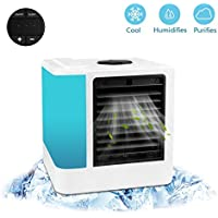 [2018 VERSION] PBELE Personal Space Air Cooler, Portable Air Conditioner Fan, 3 IN 1 USB Desktop Mini Evaporative Air Cooler Humidifier & Purifier, 3 Speeds and 7 Colors LED Light for Office Home Outdoor Travel