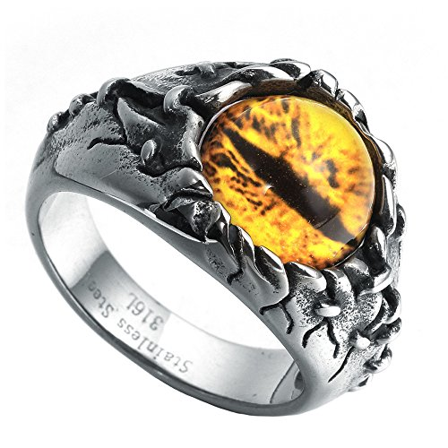 HIJONES Herren Gothic Biker Drachen Dämon Augen Ring aus Edelstahl Gelb Edelstein Größe 57