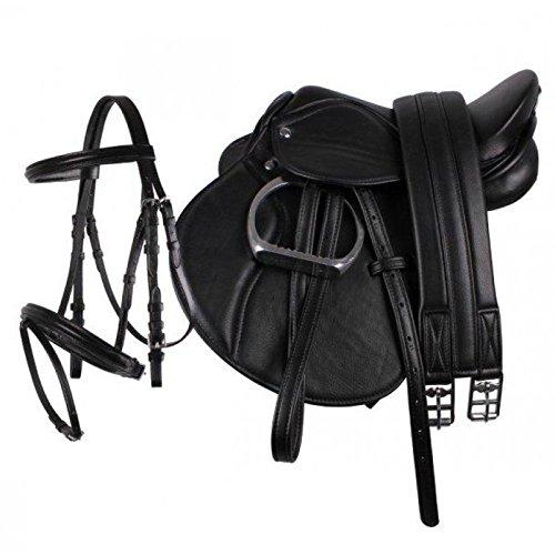 "QHP Pony Sattel-Set Leder Sattel 13"" Sattelgurt Steigbügel + kombinierte Trense (schwarz)"