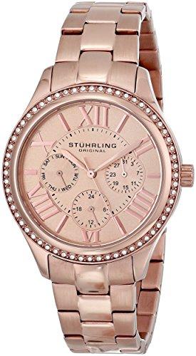 Stührling Original 391LS.03 - Reloj multifunción para mujer, correa de acero inoxidable, color oro rosa