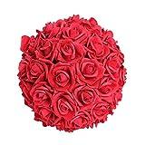 Hochzeitsdeko, Kunstblume, Rosenball, Rot, Schaumstoff, Ø: 25 cm | knuellermarkt.de | künstliche Blumen, Tischdeko Hochzeit, Dekoration, Rosendeko, Taufe, Kunstrose