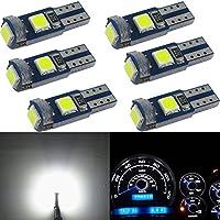 WLJH 6 x T5 LED Cuña Bombillas canbus libre de errores 74 73 17 muy brillante blanco 3030 chipsets para Auto Coche LED Gauge Cluster Dashboard lámpara instrumento Panel indicadores