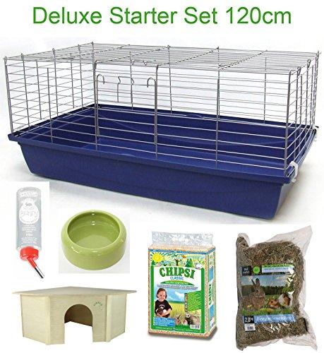 120 cm Deluxe Hasenkäfig Meerschweinchenkäfig Starter Set