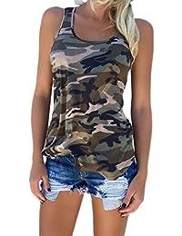 Zojuyozio Mujeres Casual Camiseta Camuflaje Racer Back Tank Top Plus Size
