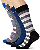 JACK & JONES Jacbasic Stripe Socks 4 Pack, Calcetines para Hombre, Multicolor (Black Detail:Black & Nautical Blue & Nautical Blue), Talla única