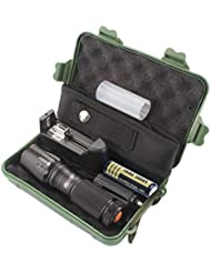 Linterna Táctica, Bluestercool 5000 Lumen XML T6 Linterna Táctica LED con Zoomable + 1 x 3200mAh 18650 recargable Batería + 1 x Batería Cargador + 1 x Caso de la linternas + 1 x bolsa de Nylon de la linterna