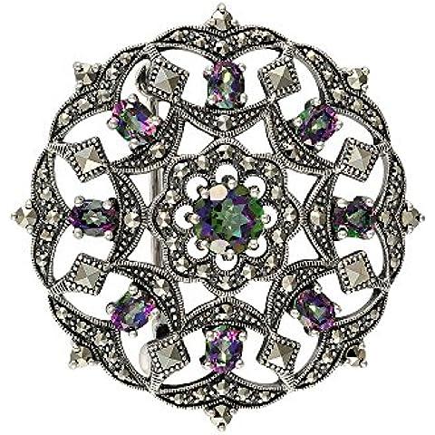 Esse Marcasite-Collana in argento Sterling con topazi Mystic rotondo di fiori e ghirlande in Marcasite-Spilla