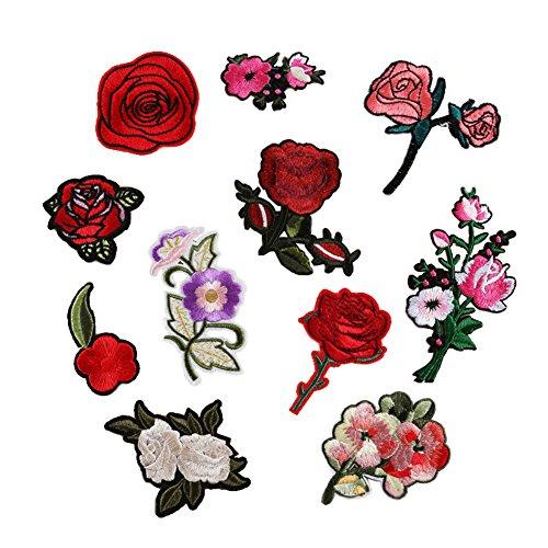 Dsaren 11 STK Stickerei Aufnäher Rose Patches Zum Aufbügeln Blumen Nähen Aufkleber für T-Shirt Jeans Kleidung Hut Schuhe Dekor (A) (Stoff Blume Schuhe)