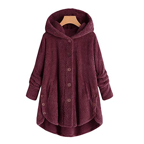 Staresen Wintermantel Damen einreihig Mode Damen Knopf Mantel Flauschige Schwanz Tops Mit Kapuze...