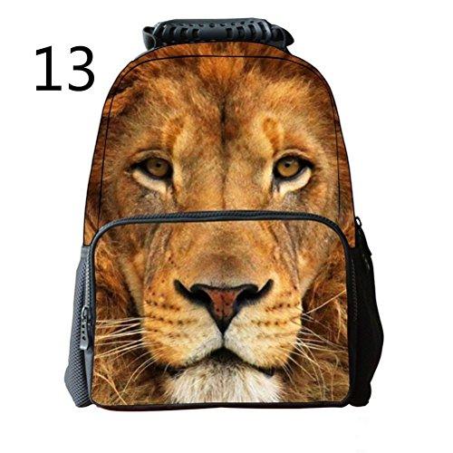 Pixnor Unisex Zaino Scuola Borse 3d animale stampa da viaggio escursionismo Daypacks, White Tiger Lion