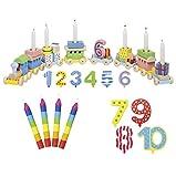 Goki Geburtstagszug Zahlen 1-10 10er Set Kerzen bunt - Die LuLuGoS