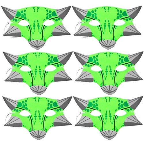 6 grün Dino Kinder Schaumstoff-Masken, Blue Frog Toys Ltd.