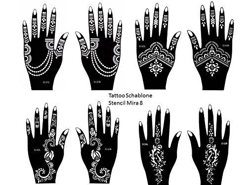 Set Mira Lot de 8 feuilles de pochoirs à usage unique pour tatouages au henné sur les mains. Convient également aux tatouages pailletés et à l'aérographe