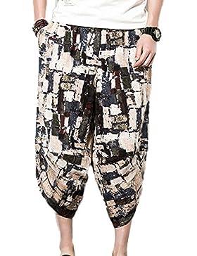 keephen Pantalones de lino ocasionales de la cintura elástica de los hombres, pantalones cortos de Harem de la...