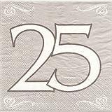 20 Servietten 3lg. 33x33cm Silber Dessign 25