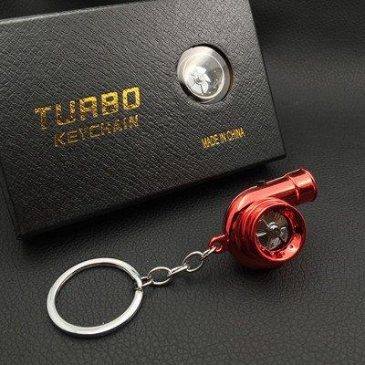 XiaoGao_ Creativo Llavero LED Llavero de Turbo,Rojo metálico