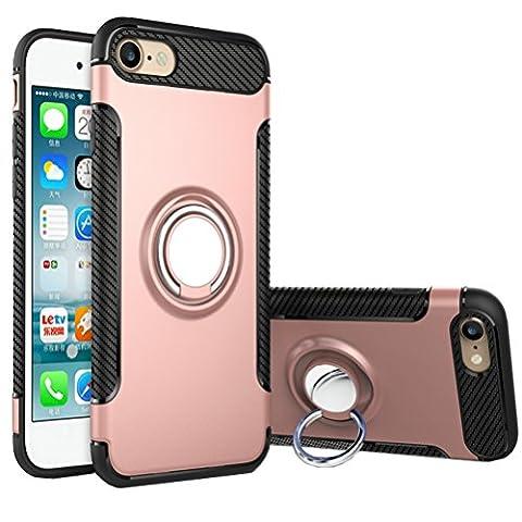 Coque iPhone SE/5/5s Bague, Bestsky Housse de Protection avec 360 Degré Rotation Anneau de Support Double Couche Armor Cover Antichoc Étui pour Apple iPhone SE/5/5s, Or rose