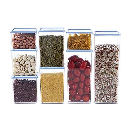 UNILIFE Botes de Almacenamiento de Alimentos con Tapa, Cuadrado Plástico Frasco Sellado VersÁtil Dispensador de Grano-D