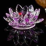 Value for Money Products Lotusblüte aus Kristallglas, Ständer für Kerzen und Teelichte, drehbar, in Geschenkbox, violett