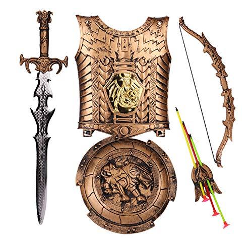 Brustplatte Kostüm - Lvbeis Kind Ritter Rüstung Ritterkostüm-Pfeil und Bogen,Schwert,Schild,Brustplatte Kinder Krieger Cosplay