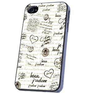 Vintage Shabby Chic French Love Words Stil Design iphone 4 4S Hülle Case Back Cover Metall und Kunststoff-Löschen Frame