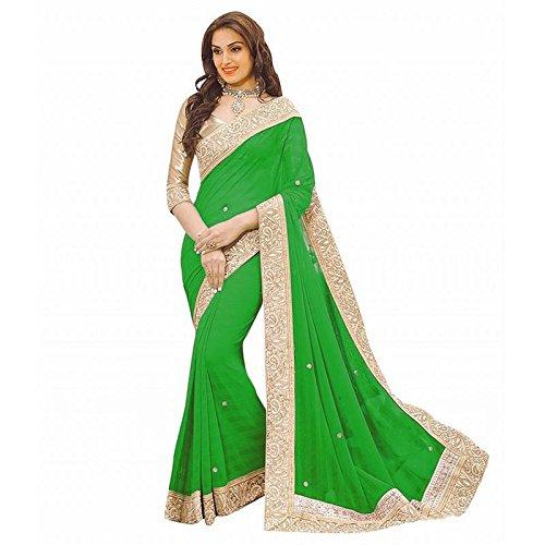 7Th Feb Chiffon Silk Saree With Blouse Piece (7 Priya Perrot_Green_Free Size)