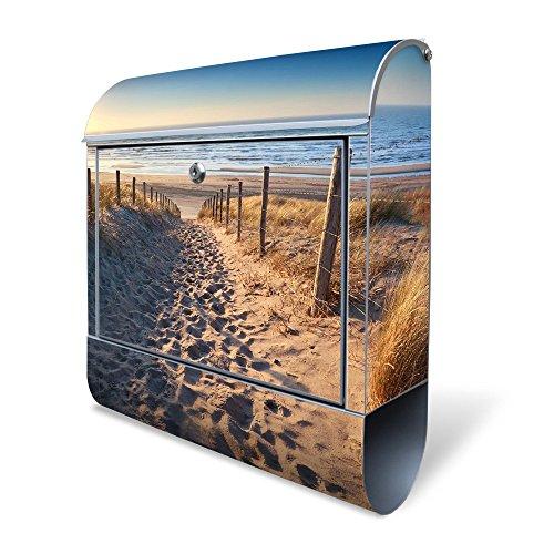 BANJADO Design Briefkasten mit Zeitungsfach, 2 Schlüssel, A4 Einwurf, silber pulverbeschichtet, mit Motiv Nordseestrand