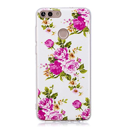 IKALITE Ultra Slim Anti-Rutsch Flexible 3D Flower Cartoon Kreative Soft Licht Gel Gomma TPU Leuchtende Nacht Silikon Schutz Handy Hülle Case Tasche Etui Bumper für Huawei P Smart/Huawei Enjoy 7S