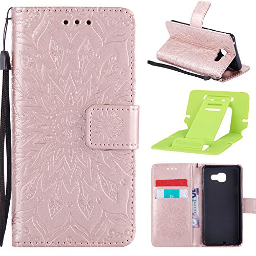 Coque Cuir Etui Pour Samsung Galaxy A3,Galaxy A3 2017 Portable Coque Housse,Ekakashop Jolie Rouge Tournesol Painting Bookstyle Rabat Shell Silicone Etui Flip Cover Smart Case Housse de Protection Port Rose D'or