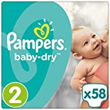 Pampers - Baby Dry - Couches Taille 2 (3-6 kg) - Pack Géant (x58 couches)