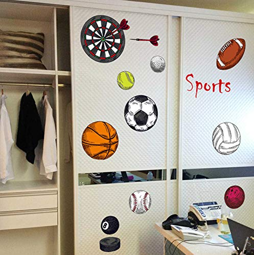 ndaufkleber basketball fußball jungen raumdekor diy kunst tapete entfernbarer wandaufkleber 62 * 102 cm ()
