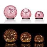 Online-Fuchs 3er SET Glaskugeln mit LED Lichterkette inkl. Timer - In und Outdoor geeignet - Deko Kugeln in Bruchglasoptik - LED Beleuchtung (Pink)