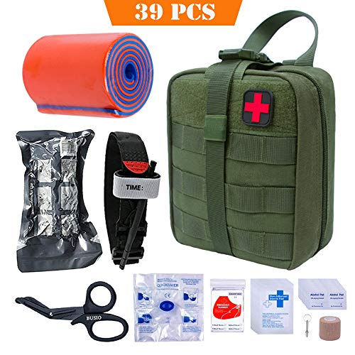 BUSIO First aid Kit-Tactical Bag,Medical EMT Scissor,Tourniquet,Splint Roll,Adhering Stick,Israeli Bandage,Emergency Mylar Blanket,CPR Mask,Survival Whistle - Emergency Medical Roll