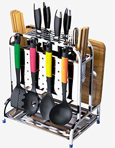 Mslydyg cremagliera per coltelli in acciaio inox tagliere per stoviglie, espositore per ripostiglio da cucina, portacoltelli multifunzione