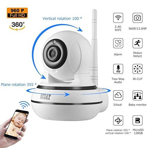 OCDAY cámara IP HD 960P WiFi camaras de Vigilancia inalámbrico Cámara IP Audio de 2 vías, Detector de movimiento, Visión nocturna, Aplicación WiFi inteligente Compatible con Android, iOS